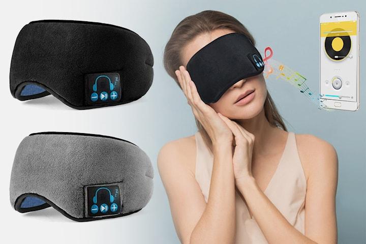 Sovemaske med hodetelefoner