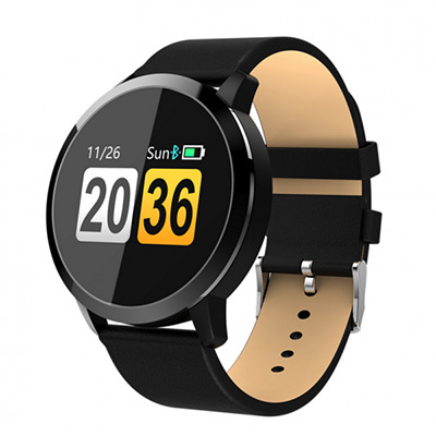 Svart, PU Band, Smartwatch med armband i PU-läder, ,  (1 av 1)