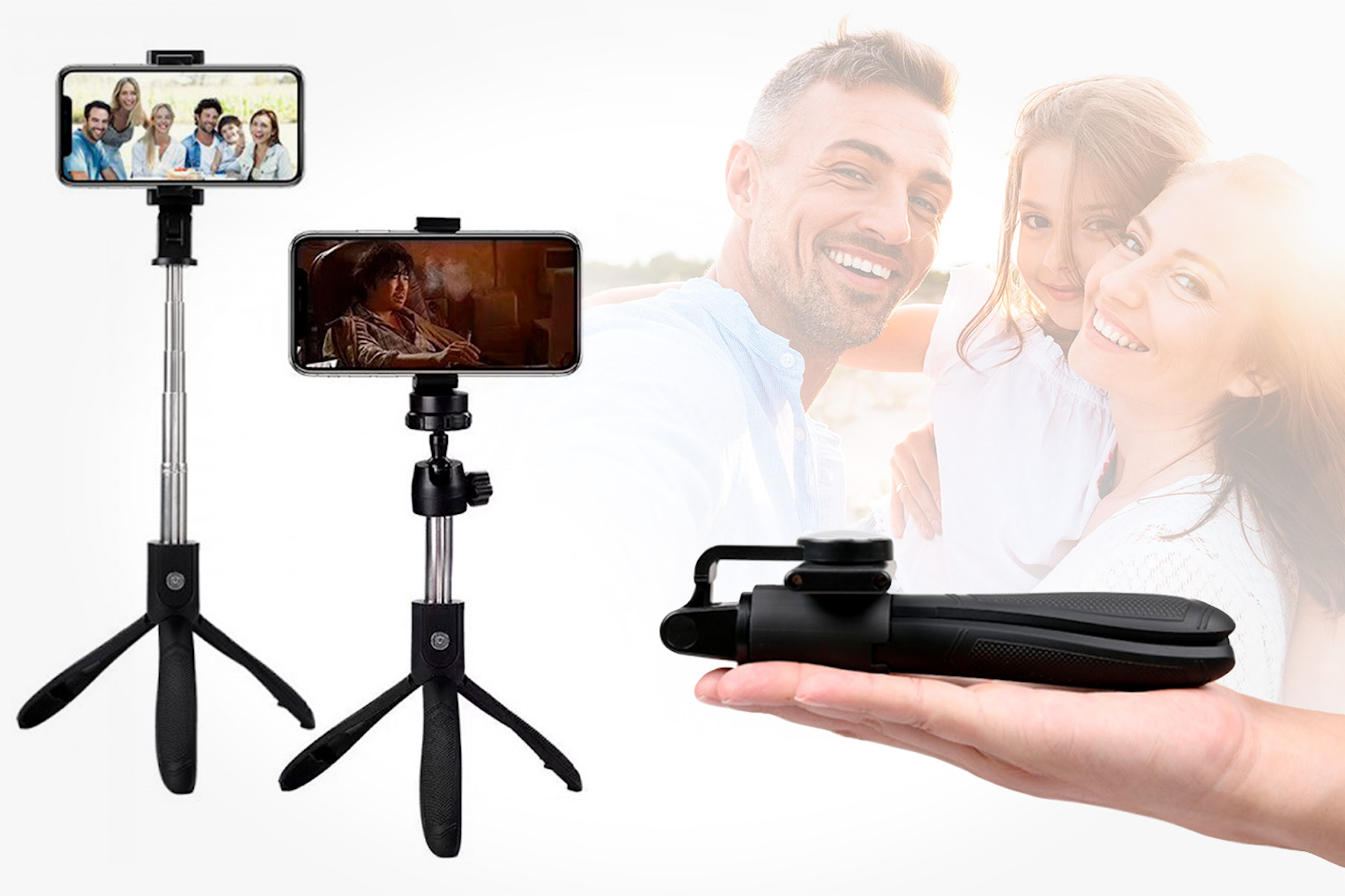 Selfie stick med tripod-stativ och fjärrkontroll
