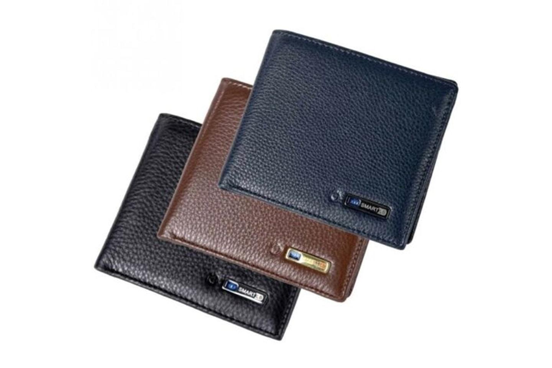 Läderplånbok med anti-stöld