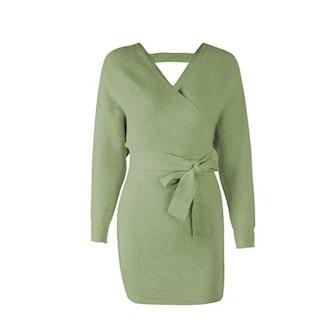 Grön, M, Sweater Dress, Klänning, ,