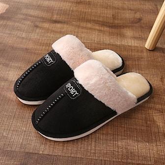 Svart, 42-43, Men, Warm Winter Plush Slippers, Tøfler, ,