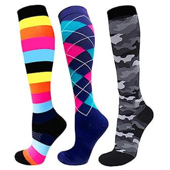 L, Randiga, Rutiga, Kamouflage , Patterned Compression Socks, 3-Pcs, , ,