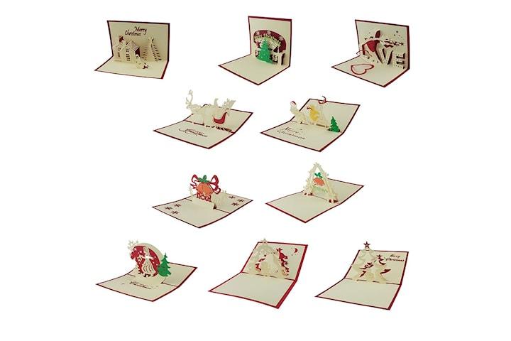Håndlagde pop-up Julekort