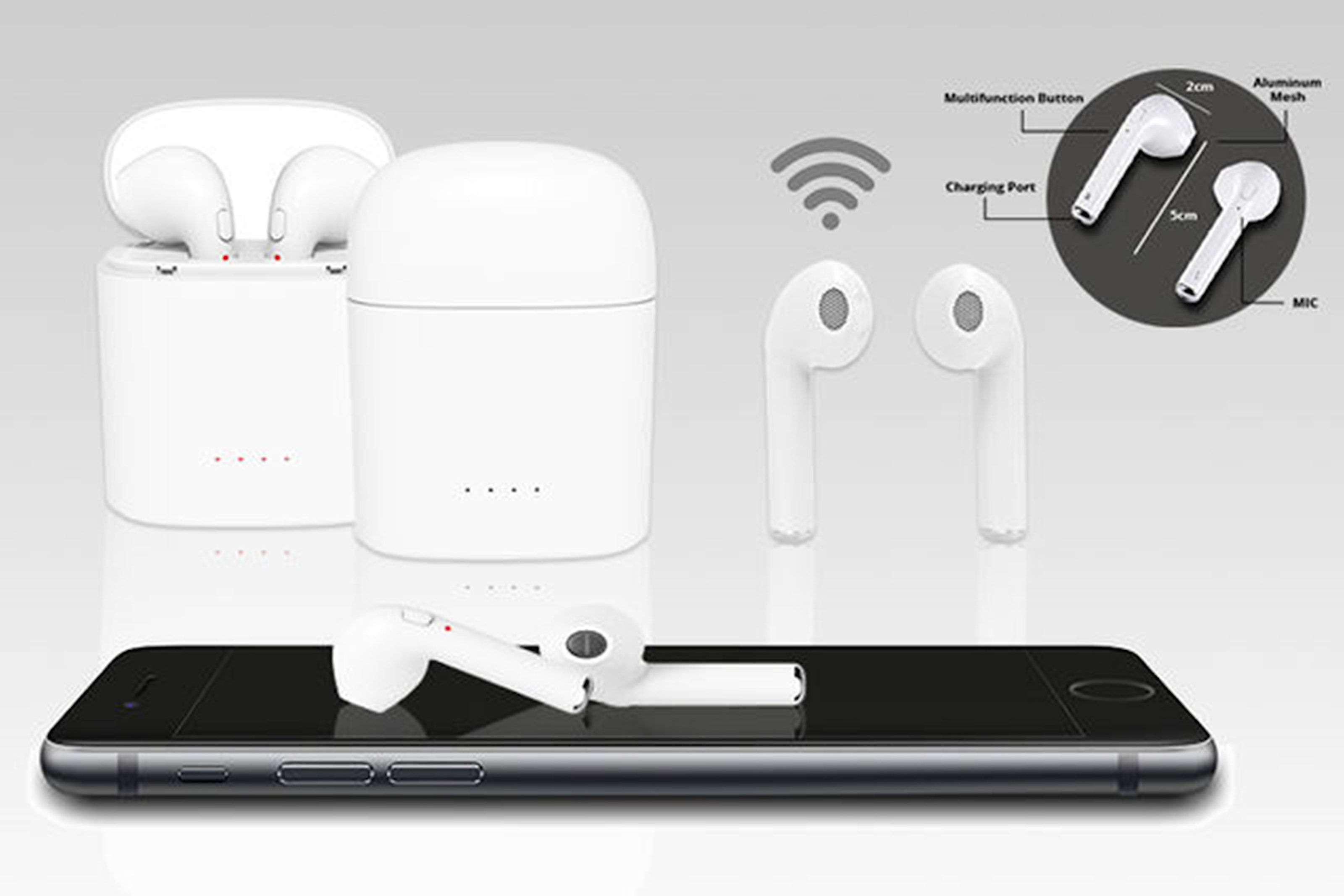 Apple-kompatible earbuds med ladeetui