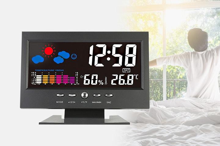 Klokke med alarmfunksjon og værmelding