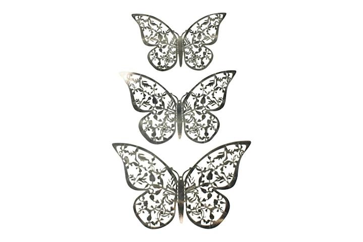 12 stk. 3D-Sommerfugler i metall, Veggdekorasjon - Sølvblad