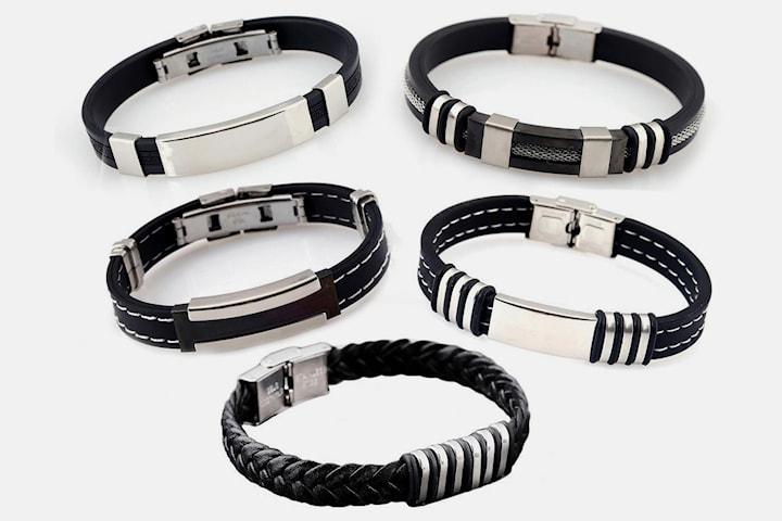 Armband herr i läder/PU-läder 5-pack