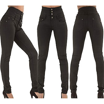Svart, M, Jeans high elastic waist, Jeans med hög midja, ,