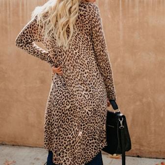 Leopard, XXL, Loose Cardigan, Lång kofta, ,