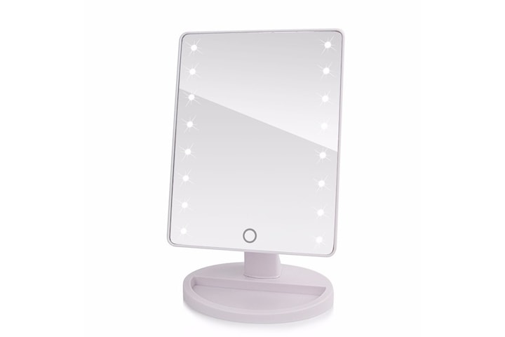 Portabel Roterbar LED Sminkspegel, Batteri & USB driven - Vit