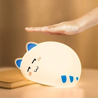 Blå, Kids Night Light Kitty, Puse-nattlampe,