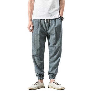 Lyseblå, L, Mens Linen Pants, Bukser i lin og bomullsmiks, ,  (1 av 1)