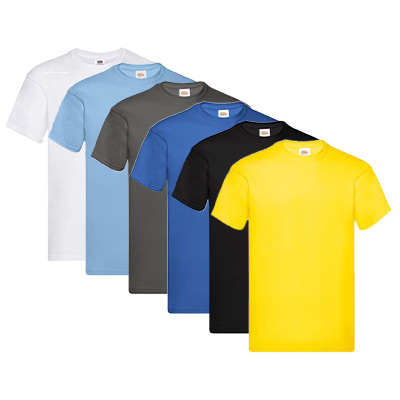 Black, Blue, Dark Grey, Light Blue, White, Yellow, XL, Fruit of the Loom, Round Neck T-shirts, Fruit of the Loom T-shirt 6-pack,  (1 av 1)