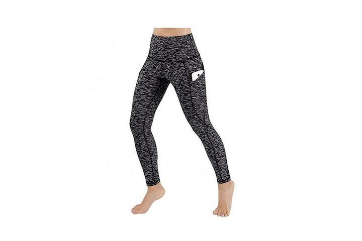 Leggings Hög Midja Yoga Fitness Grå (M)