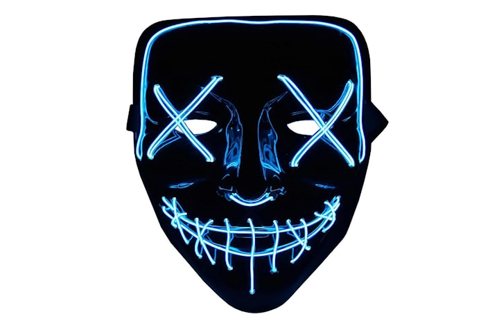 The Purge LED Neon Mask, Halloween - Blå