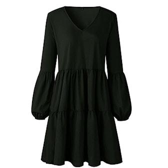 Svart, M, Long sleeve pleated dress, Klänning med långa ärmar, ,