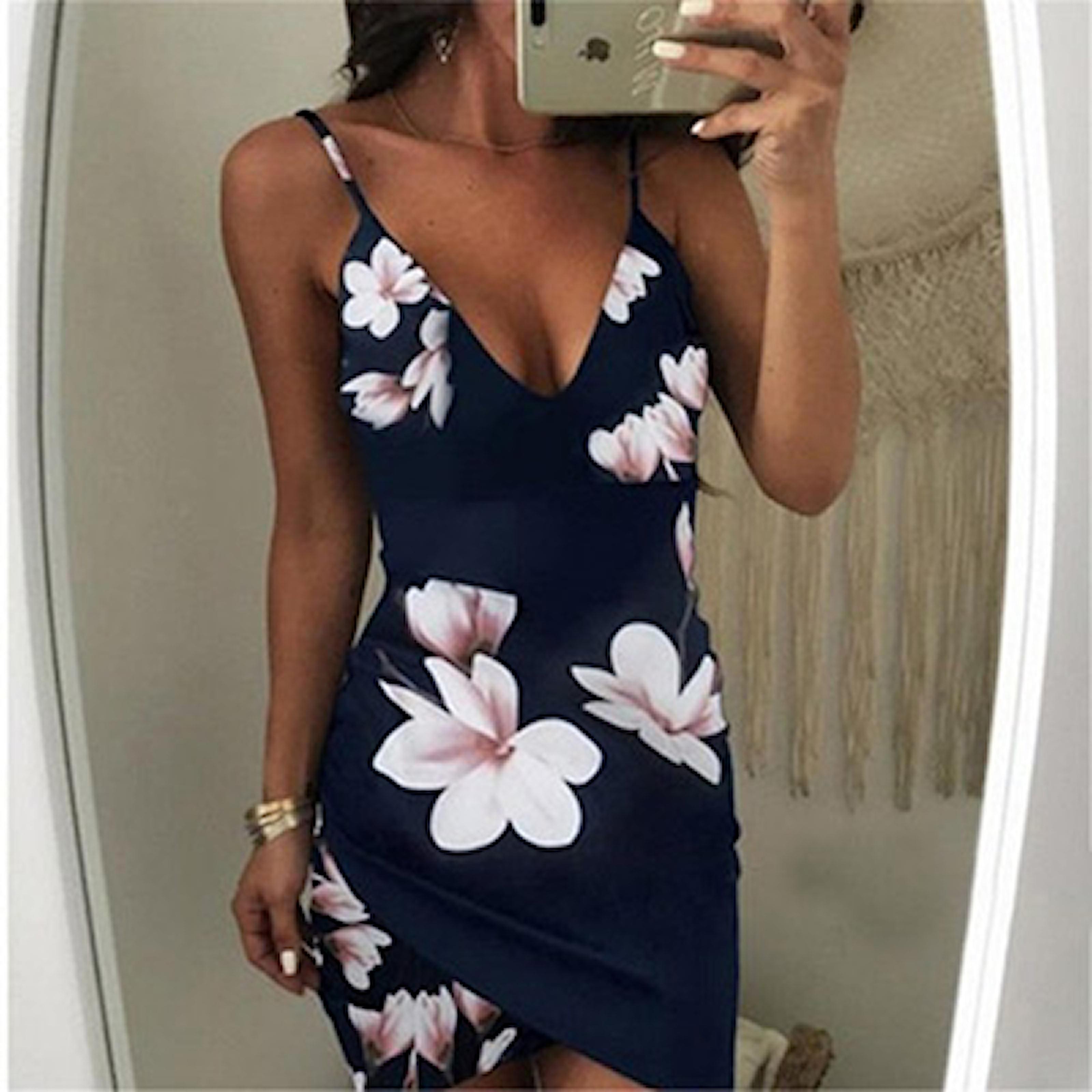 Marineblå, XL, Summer Off Shoulder Dress, Stilig sommerkjole, ,
