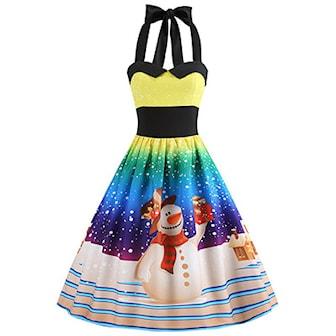 Gul, M, Women Christmas Halter Tunic Dress, Kjole med julemotiv,