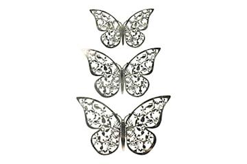 12st 3D Fjärilar i Metall, Väggdekoration - Silverblad