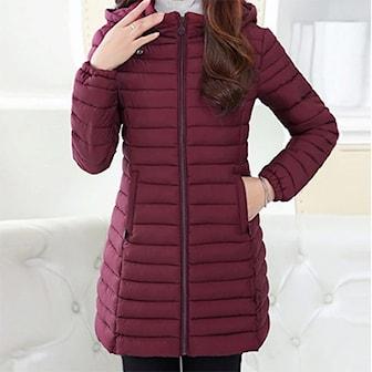Röd, 3XL, Women Long Coat, Vinterjacka dam, ,