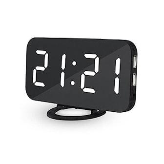 Vit, Mirror Surface Dual USB Charging Alarm Clock, Väckarklocka med spegel, ,