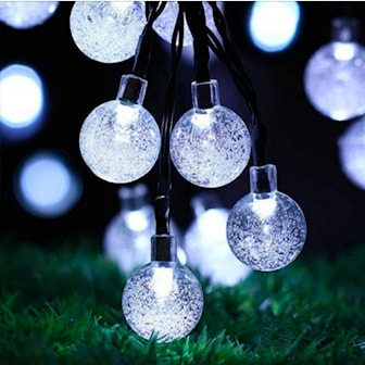 Hvit, 30 LED Solar String Ball Lights, Soldrevet lyslenke med 30 LED-lys, ,
