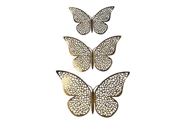12st 3D Fjärilar i Metall, Väggdekoration - Guldnät