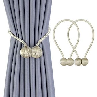 Beige, 2 Pack Magnetic Ball Curtain Tiebacks, Magnetisk gardinbånd 2-pack, ,