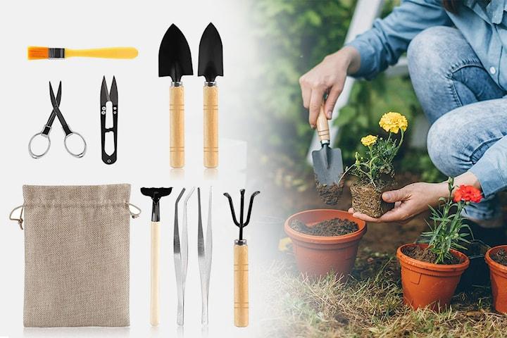Trädgårdsredskap 9 delar inkl. förvaringspåse