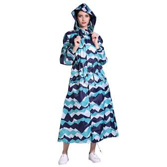 Blue Pattern, L, Women's Hooded Long Raincoat, 5 colors!, Regnjacka för dam, ,