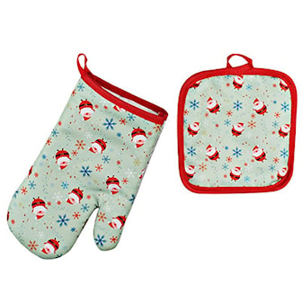 Santa Claus B, 2 Pack Christmas Anti-Hot Gloves, Grytvante och grytlapp,