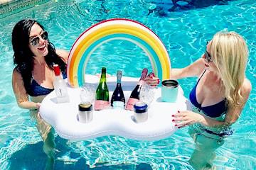 Uppblåsbar dryck- och snackshållare