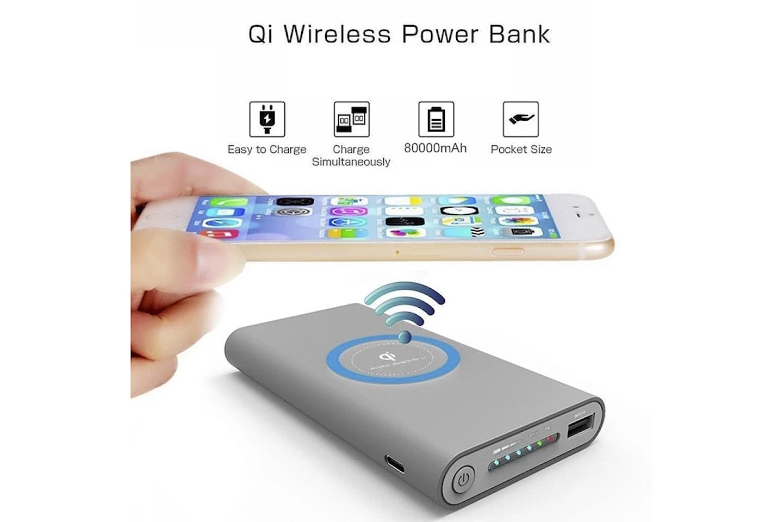 Powerbank med laddning via Qi eller kabel
