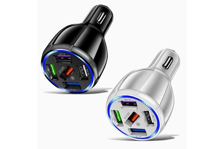 2x USB biladapter med 5 LED-utgångar