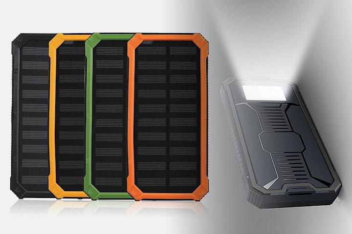 Vattentät powerbank med solceller 10.000 mAh
