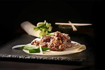 Sprø og saftig crispy duck inkl. to forretter og én fløyelsmyk dessert hos Foodie