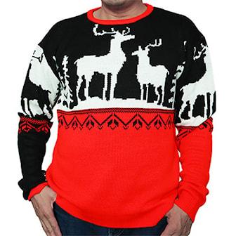 L, Reindeers, Knitted Fun Christmas sweater, Stickad jultröja,