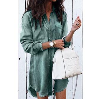 Armégrön, L, Denim Style Mini Dress, Denimklänning, ,