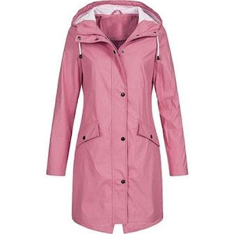 Rosa, 3XL, Women's Waterproof Raincoat, 5 Colors, Fodrad regnjacka i dammodell, ,