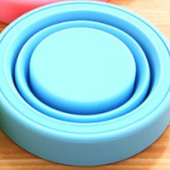 Blå, Portable Travel Silicone Folding Cup, Hopfällbar kopp med lock, ,
