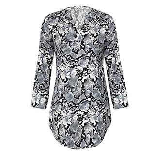 Black Snake, L, Womens Long Shirt Animal Print, Lang dyremønstret bluse,