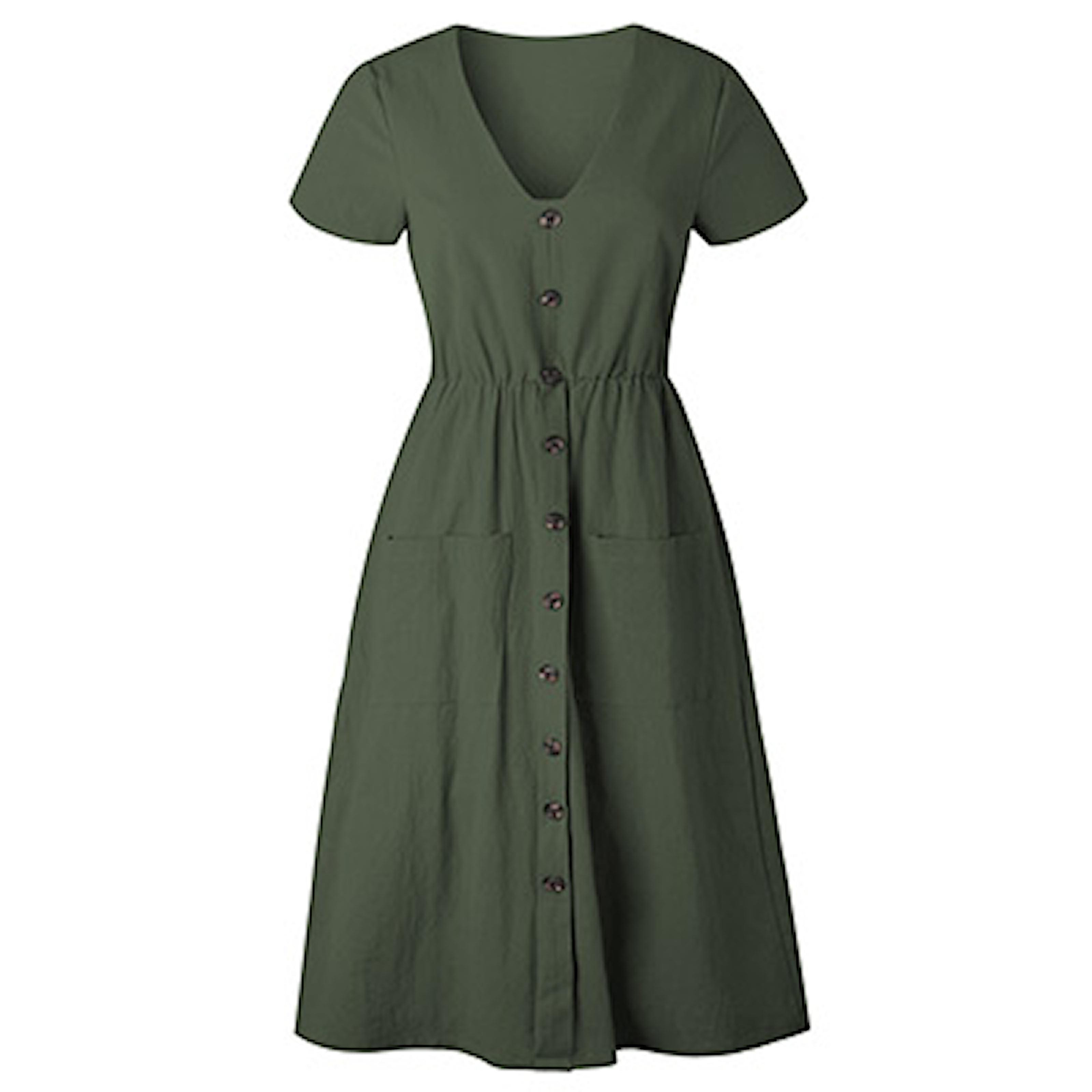 Grønn, L, Summer Dress Buttons, Søt sommerkjole, ,