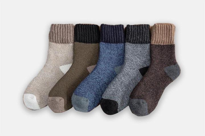 Tykke sokker i ullblanding 5 par