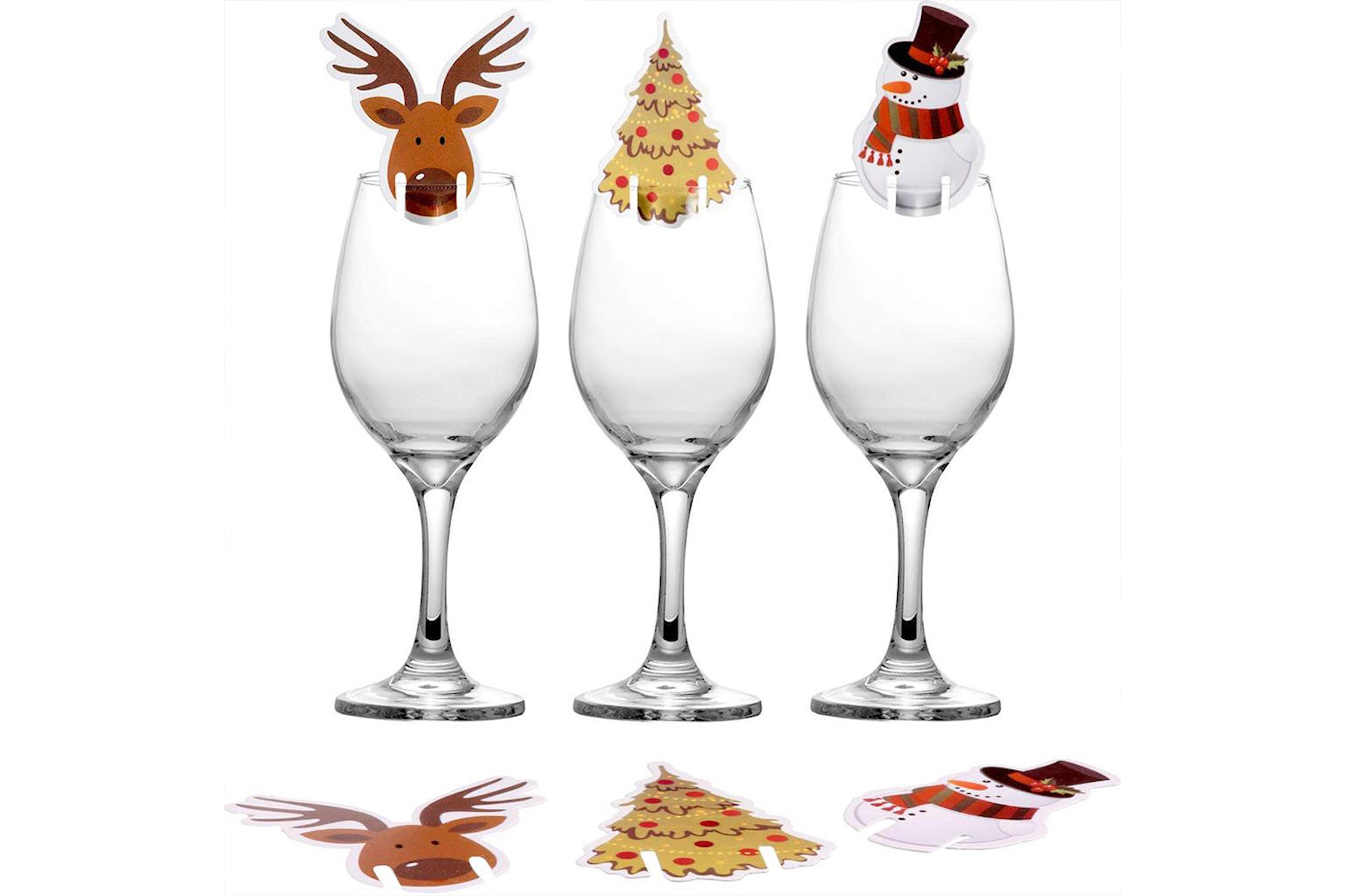Vinglassetiketter med julemotiv