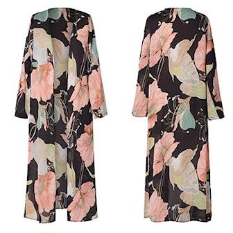 Svart, XL, Floral printed chiffon kimono, Blommig kimono, ,