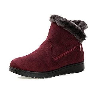 Rød, 37, Cosy Winter Boots, Fôret vintersko til dame, ,