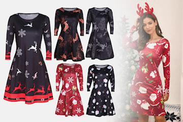 Kjole med julemønster