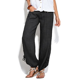 Svart, L, Pants Women Thin, Tynn bukse, ,