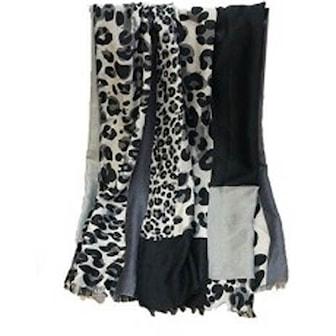 Grå, Leopard Print Women Scarf, Scarf med leopardprint, ,